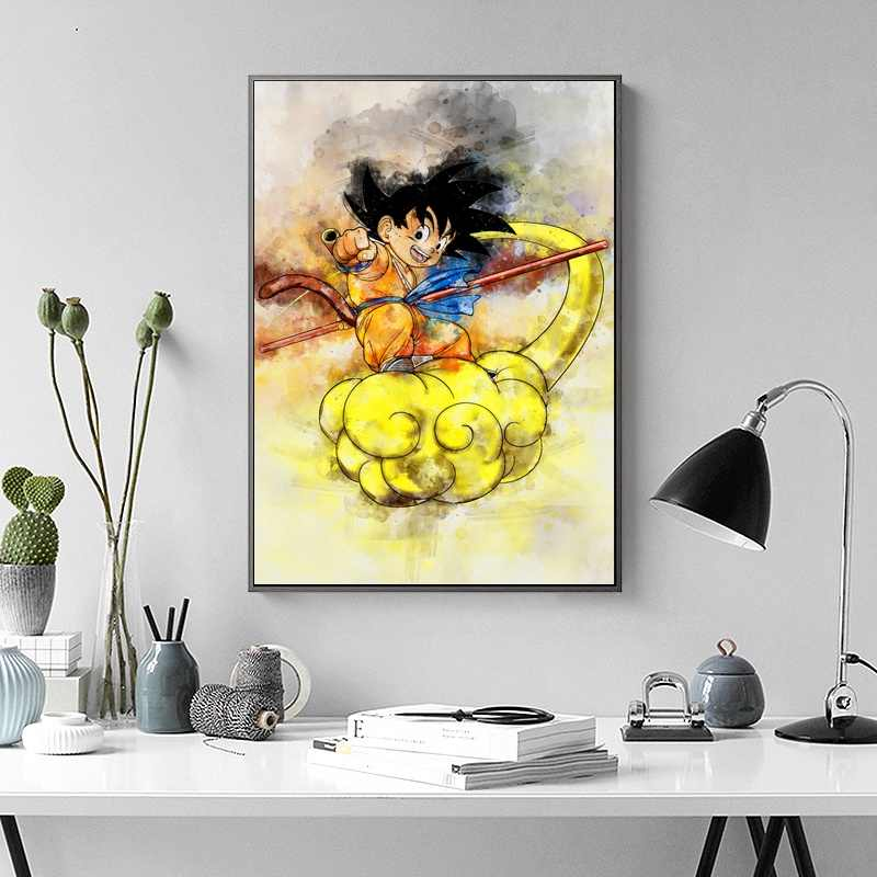 Dragon Ball Z Watercolor Abstract Wall Art Paint Wall Decor Canvas Prints Canvas Art Poster Oil Paintings Picture No Frame