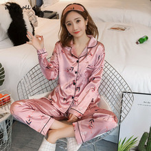 Whoholl 2019  Women Pajamas Long Sleeve Floral Printed Silk Pajamas Set Sexy Two Piece Top+Trousers Set Sleepwear  Nightwear