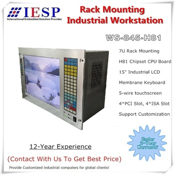 7U Rack Mount Industrial Workstation, 15 inch LCD, H81 Chipset, LGA1150 CPU, 4*PCI, 4*ISA, rack mount industrial computer