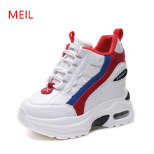 Heavy-Bottomed women Sneakers Hidden heel Wedge platform shoes 2019 New PU Leather Heigh Increasing Casual white Shoes Woman
