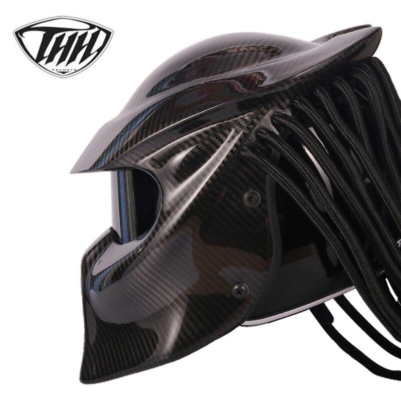 Carnassier casque fibre de carbone VS Alien iron man intégral moto casque capacete cascos para DOT Certification ont lentille colorée