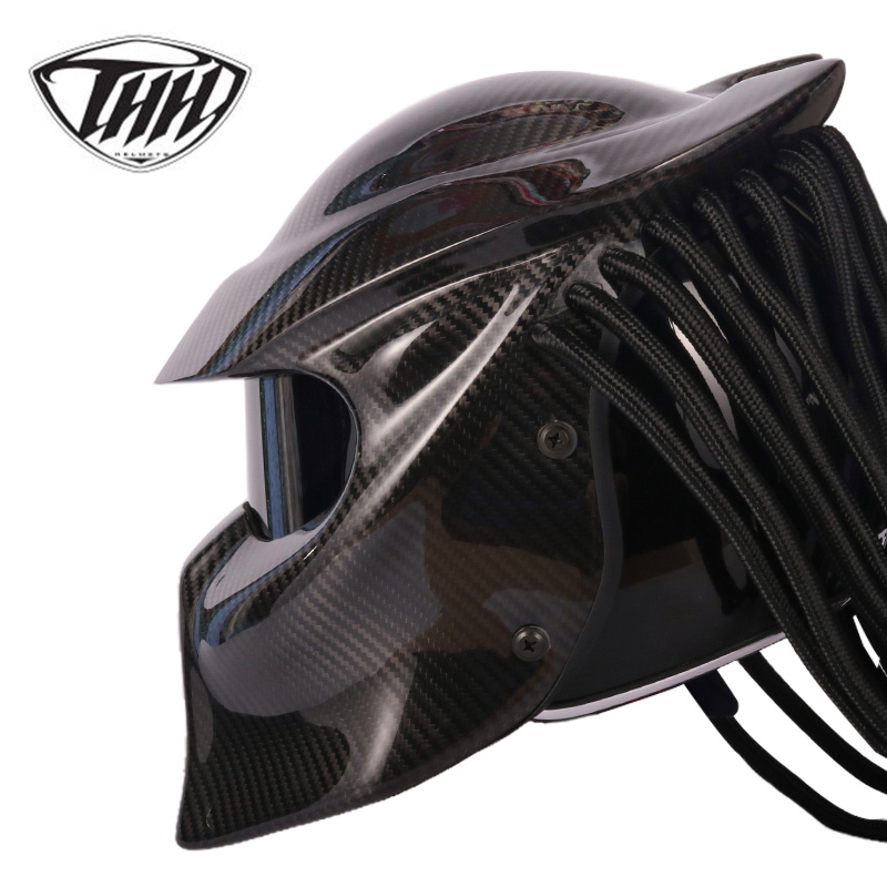 Predator Carbon Fiber Helmet VS Alien Iron Man Full Face Moto Casque Capacete Cascos Para DOT Certification Have Colorful Lens