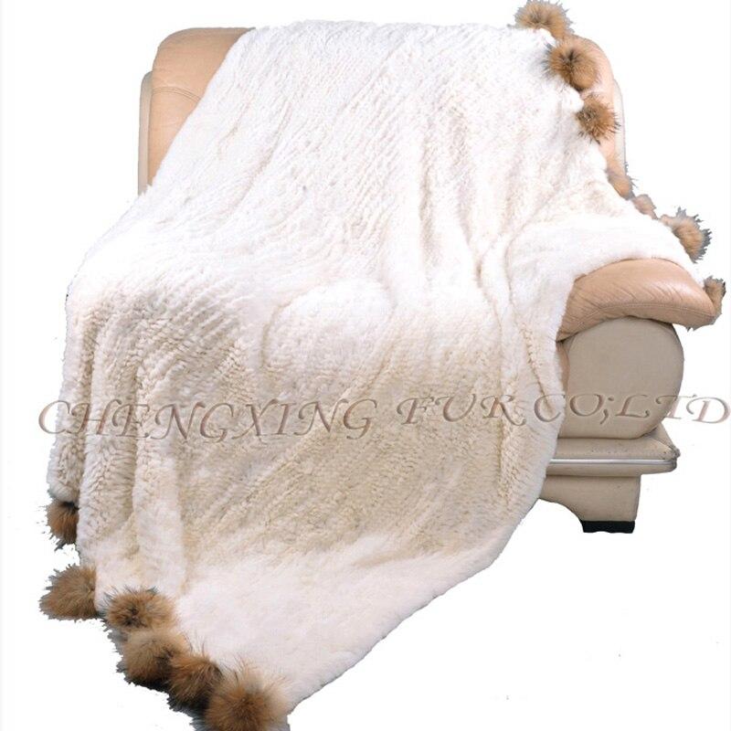 Couvertures tricotées de couleur naturelle faites sur commande de CX-D-108 couvertures adultes de couverture de fourrure de lapin de Rex pour des lits ~ livraison directe