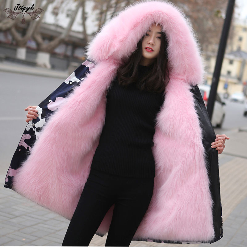 2019 new winter Parker coat women jacket Faux Fur fox fur coats Woman Hooded fur collar