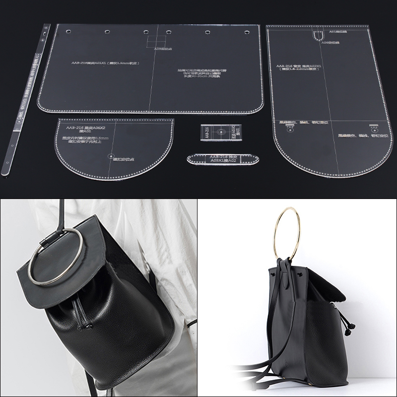 Lady Shoulder Bag Backpack Design Pattern Model Mold DIY Manual Leather Edition Acrylic Acrylic Plate Template  18x25x13.5cm