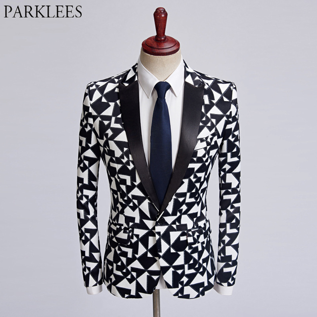 49f1cf3b0440 Mens Black White Plaid Blazer Jacket Casual One Button Male Check Print  Suit Coats Wedding Singer DJ Stage Party Terno Masculino