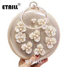 ETAILL Plastic Flower Round Clutch Evening Bag Silver Golden Circle Wedding Shoulder Bags with Chain Drop Shipping