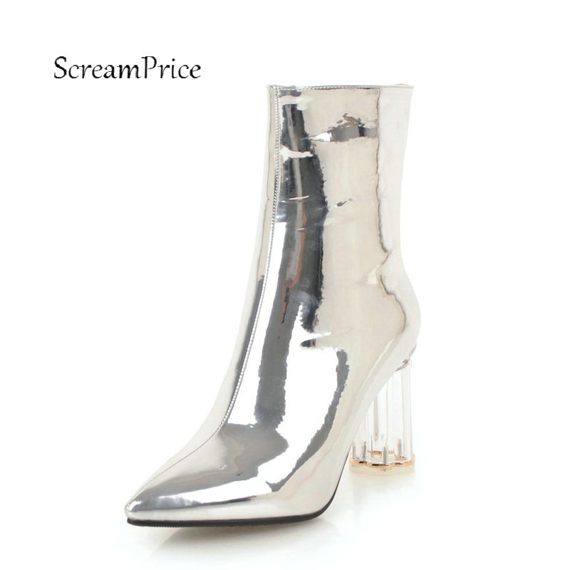 Women Sexy Patent Leather Thick High Heel Ankle Boots Fashion Side Zipper Boots Ladies Pointed Toe Winter Shoes Red White Silver цены онлайн