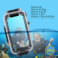 40m/130ft Waterproof Diving Housing Photo Video Taking Underwater Cover Case for Apple iPhone 78, xr, XS Max mobile phone