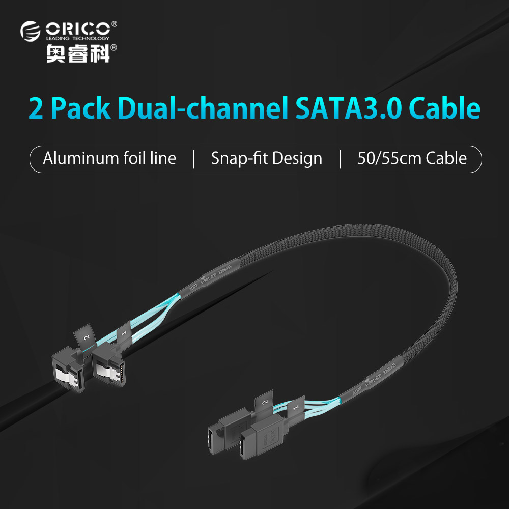 ORICO CPD-7P6G-BW902S Original SATA 3.0 CableTwo Set Data Cable Solid SSD Hard Line-Black кабели orico кабель microusb orico adc 10