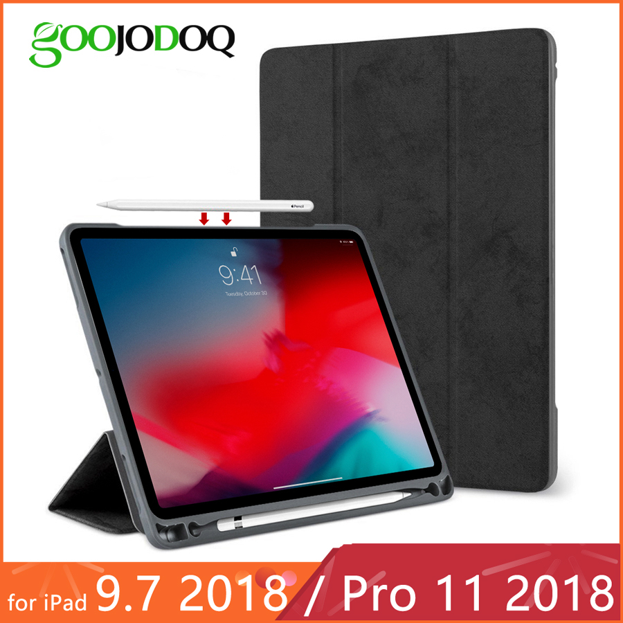 For IPad Pro 11 Case With Pencil Holder For IPad 2018 9.7 Case Soft Silicone Back Smart Cover For IPad 9.7 2018 2017 Funda Coque