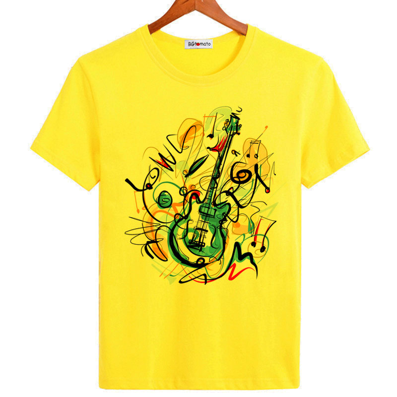 BGtomato Graffiti Artwork Guitar   t     shirt   for men love music fashion short sleeve   shirt   Brand breathable comfortable casual tops