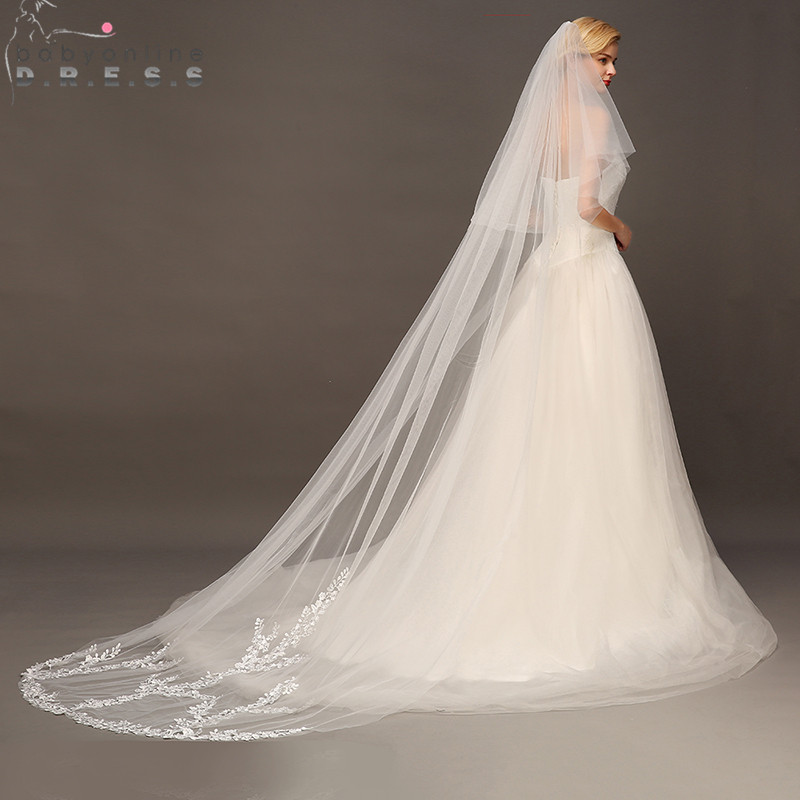 Voile Mariage 3M Two Layer Lace Edge White Ivory Cathedral Wedding Veil Long Face Covered Bridal Veil With Comb Veu De Noiva
