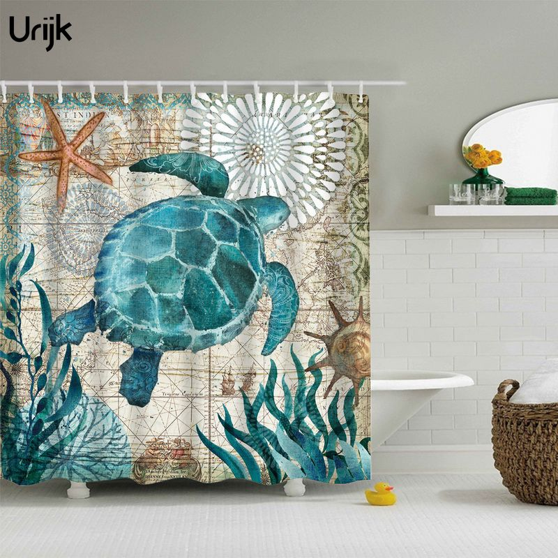Urijk 1PC Sea Turtle Print Shower Curtain Bathroom Polyester Waterproof Fabric Bath Curtain Home Bathtub Curtains with 12 Hooks