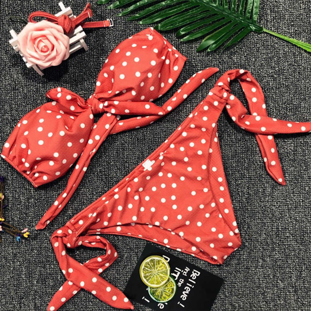 Été femmes maillots de bain Sexy Dot imprimé taille haute maillots de bain omg bandage push-up rembourré arc Bikini ensemble femmes maillot de bain