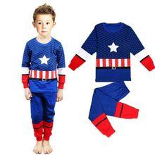 HOT SALE 2015 new fashion Children America Top Pants Kid Boys Nightwear Pajamas Sleepwear Set Suit free shipping