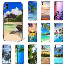Print Tropical palm trees Sea Beach spray Phone Cover for iPhone 6S Plus Case 8 XR X 7 6 5 5S SE Xs Max Covers Back