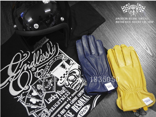 US $36 5 |Export USA Real Elk Leather Material blue/yellow Exclusive  Motorcycle Gloves Full Finger Vintage Style Mitten Free Shipping-in Gloves  from