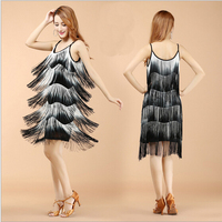 Latin Dance Dresses Suits Women Girls Sexy Fringes Long Skirt Ballroom Tango Rumba Latin Dresses Clothings