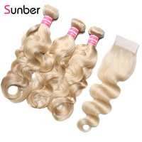 Sunber волосы 613 светлые пучки с закрытием перуанские волнистые человеческие волосы Remy 3/4 пучки с Чехол Бесплатная доставка