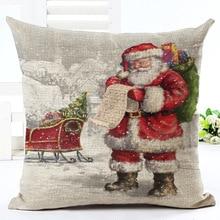 GZTZMY 45X45cm 2019New Year Decor Merry Christmas Decorations for Home Pillowcase Santa Claus Reindeer Linen Cover Cushion Natal