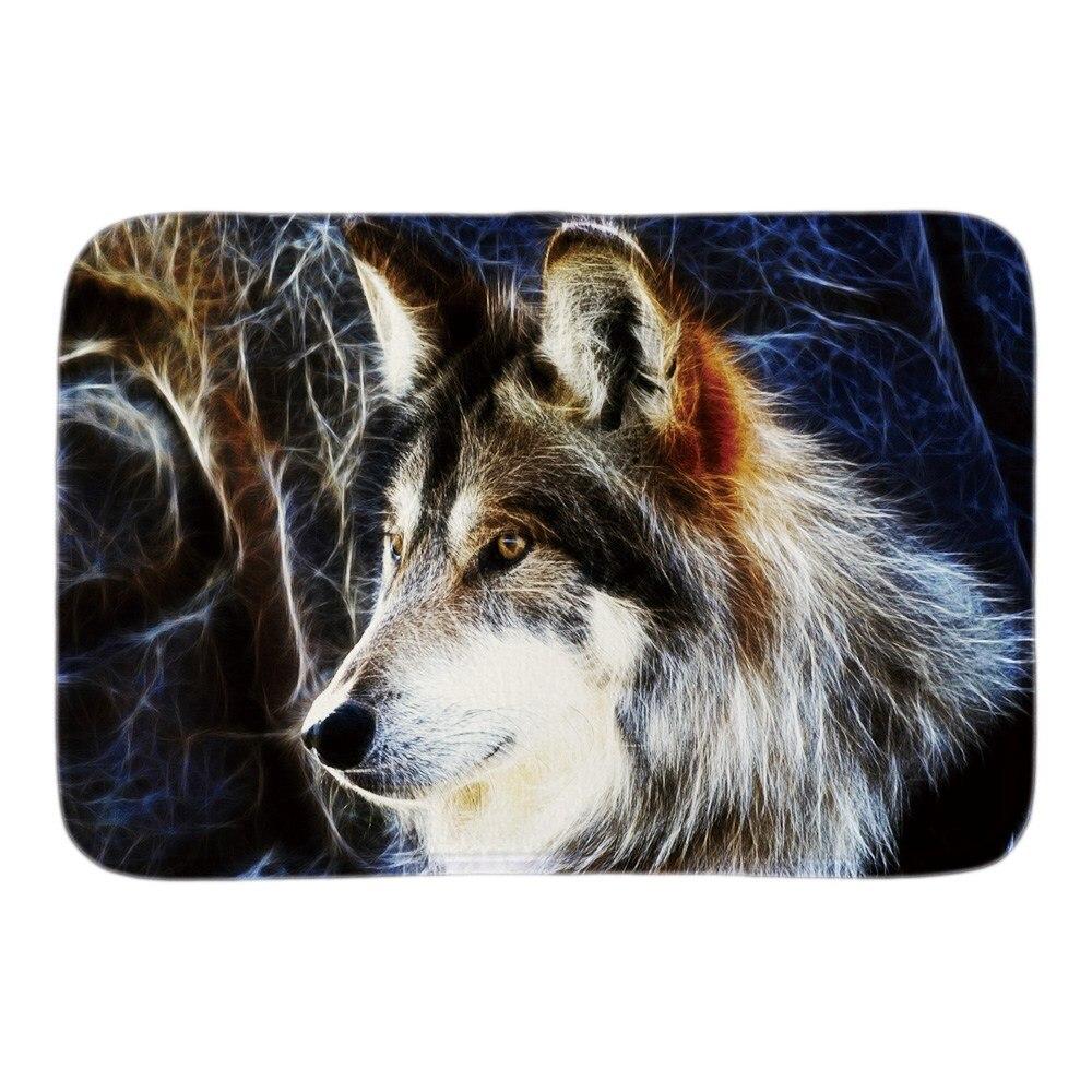 동물 현관 장식 아름다운 야생 동물 늑대 부드러운 가벼움 실내 야외 문 매트 짧은 봉제 직물 욕실 매트