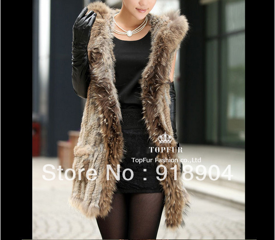Real natural Genuine knitted Rex Rabbit Fur Vest with raccoon fur collar tassel Women Gilet waistcoat