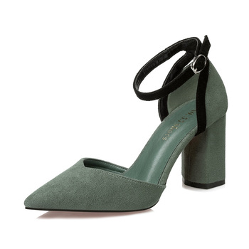 Hot Sale Pointed Toe Block Heels Sandals Women Shoes Summer 2018 Ankle Strap High Heel Sandals Ladies Office Party Sandal sandal