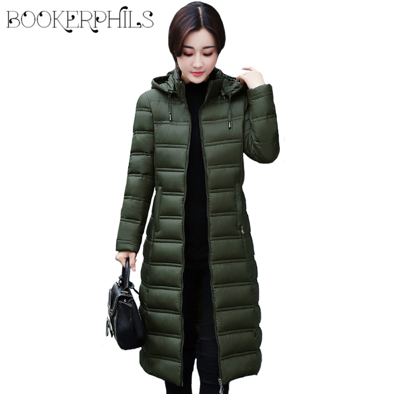 2017 Winter Women Jacket Hooded  Plus Size Warm Long Thick Warm Down Cotton Coat Female Overcoat Solid Color Slim Female Parkas 2017 new women winter coat long quilted jacket thick warm solid color cotton parkas female slim hooded zipper outwear okb88