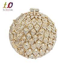 Bolsos de Embrague bolsos de noche de cristal de Lujo de Oro de la manera velada forma de la bola de oro de la boda de las señoras del partido Bolsos pochette SC036