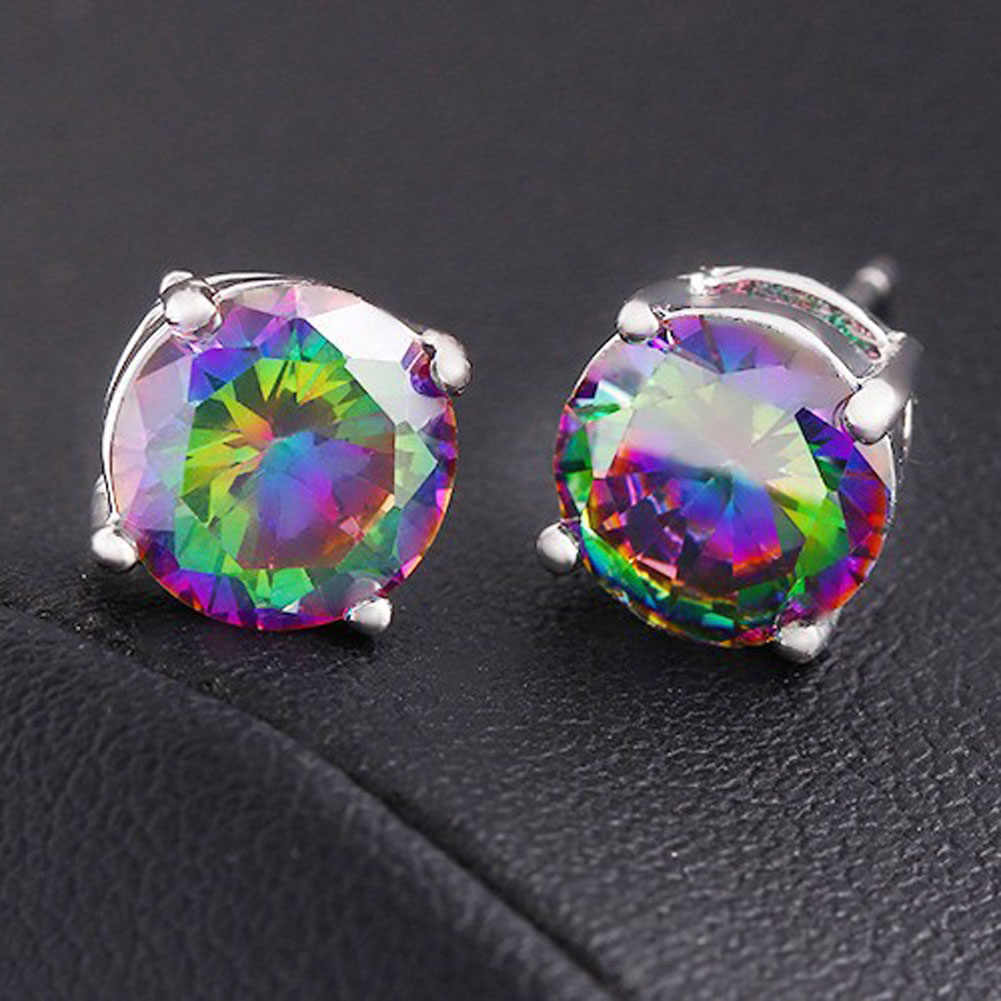 Hot 1Pair New Mystic Rainbow/White Zircon Silver Stud Earrings Wedding Colorful Earrings For Women Jewelry Gift