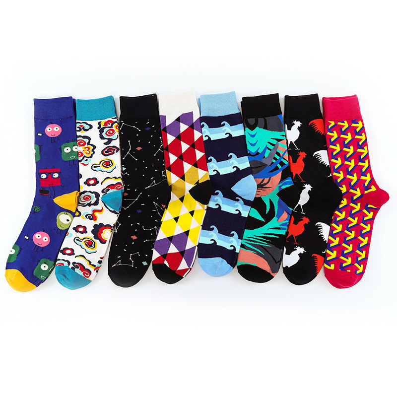 100% Quality New Arrived Brand Men Happy Socks Colorful Novelty Funny Socks Men Cotton Crew Socks Breathable Chaussettes Homme Fantaisie Good For Energy And The Spleen Underwear & Sleepwears