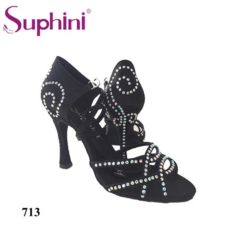 Free Shipping 2017 Suphini High Heel Latin Dance Shoes Woman Black Salsa Dance Shoes free shipping suphini new in starry latin dance shoes red salsa dance shoes