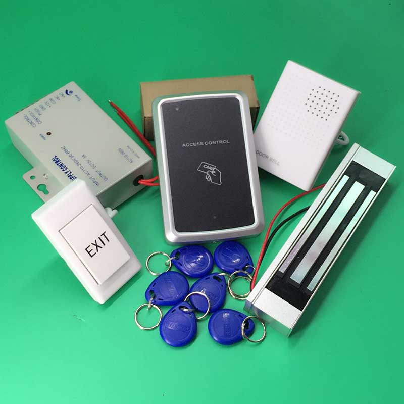 RFID Access Control System Kit Wooden Door Set+300LBS Eletric Magnetic Lock+ID Card Keytab+Power Supplier+Exit Button+DoorBell rfid door access control system kit set with electric lock power supply doorbell door exit button 10 keys id card reader keypad