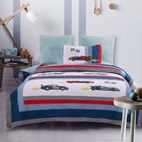 CHAUSUB Kids Bedspread Quilt Set 2pcs Boys Cotton Quilts Racing Car Applique Bed Cover Pillowcase Coverlet Twin Size