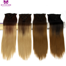 Neverland 24″ 16Clips Synthetic Hairpieces Straight Natural Full Head Ombre Heat Resistant Clip-in Hair Extensions 8 Colors