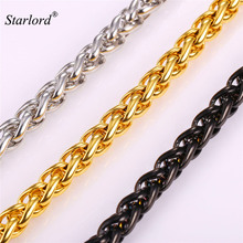 Starlord Stainless Steel Spiga/Wheat Chain Cool American Style Hip Hop 9MM Gold Color Big Long Necklace Men Jewelry GN2169(China)