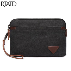 Canvas Leather Men Purse Military Army Vintage Male Messenger Bags Casual Travel Day Clutches For Men Cellphone Packet Q081