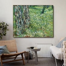 Tree trunks and Grass by Vincent Van Gogh Posters Print Canvas Painting Calligraphy Wall Pictures for Living Room Home Decor