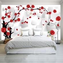 цена Customize Photo Wallpaper Rose 3D Mural Wall Paper For Living Room Wallpaper TV Background Home Decor Papel De Parede 3D онлайн в 2017 году