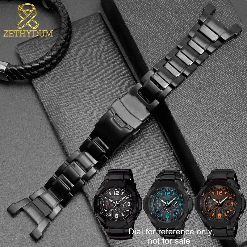 Bracelet en acier inoxydable massif pour casio g-shock GW-3500B/GW-3000B/GW-2000/G-1000 Bracelet de montre Bracelet noir