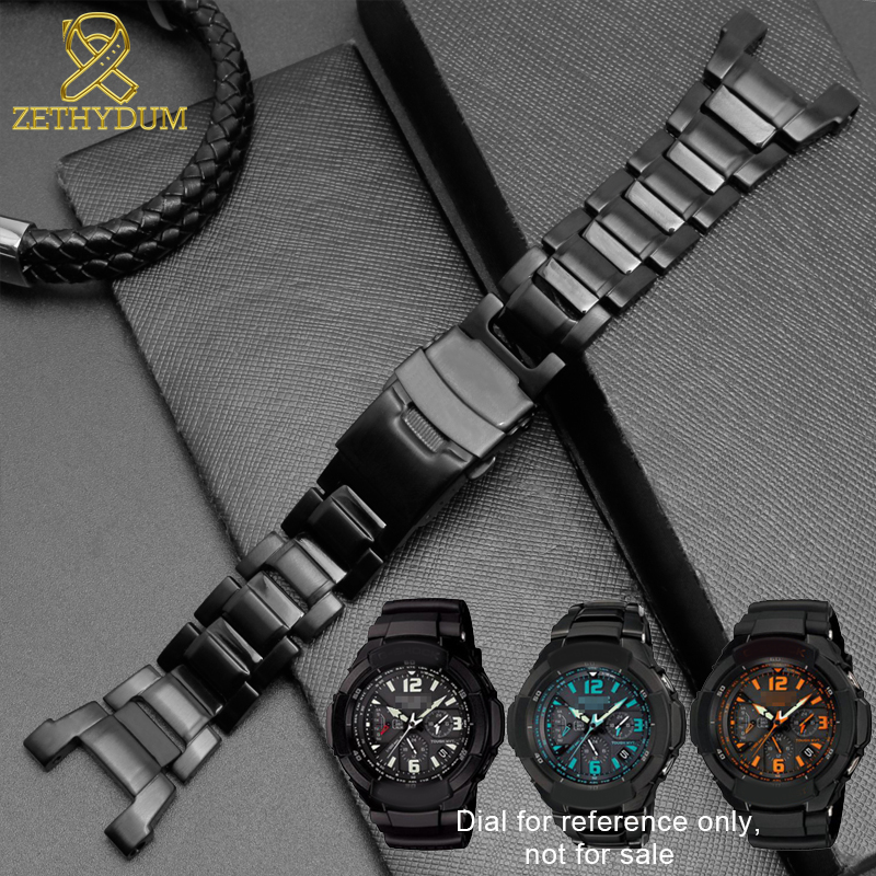 competitive price 30f93 42842 US $25.53 31% OFF|Solid stainless steel watchband for casio g shock GW  3500B/GW 3000B/GW 2000/G 1000 watch strap black Bracelet band-in Watchbands  ...
