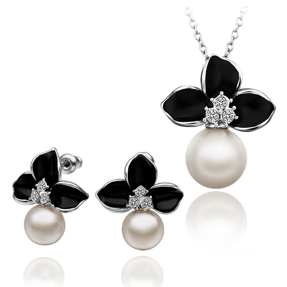 2016 Leaves Black White Pearl Earrings Pendants 2016 New Fashion Jewelry  Natural Pearl Jewelry Sets Jewelry