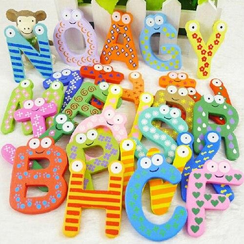 26 Алфавит магнитные буквы Z деревянный Магниты на холодильник для маленьких детей Образ ...