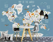 Beibehang Large custom fashion Silk material decorative painting wallpaper world map indoor childrens background wall