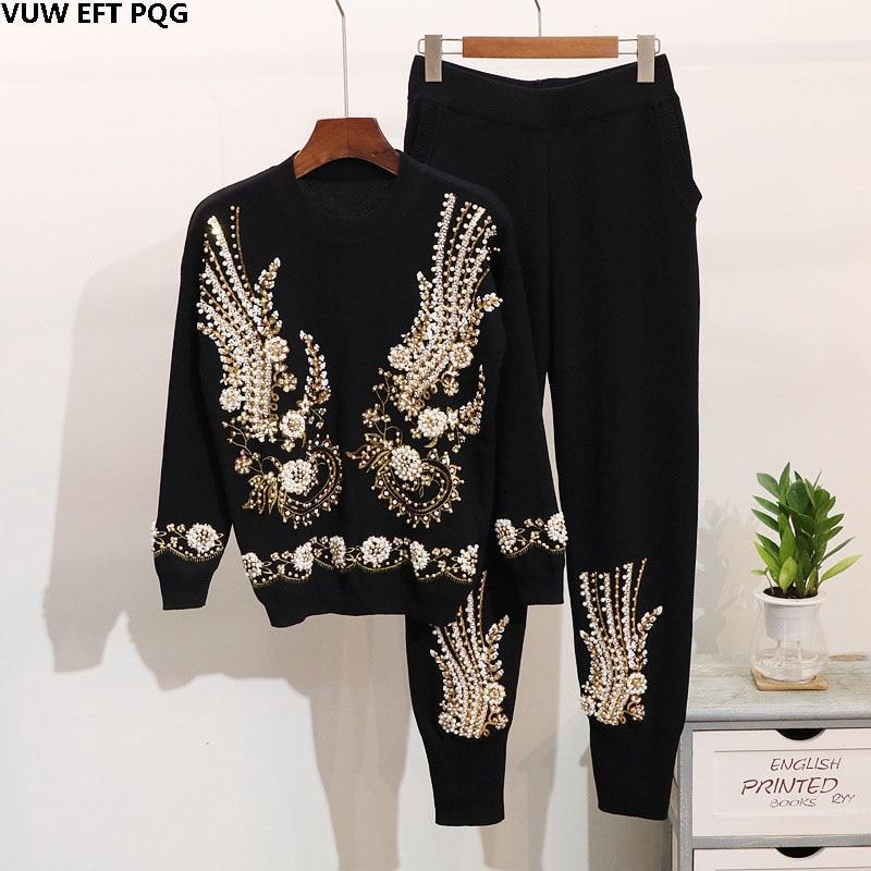 Ensembles Sequin Gray Broderie Hiver Perlé À Tricoté Longues Mode Femmes black Pantalon Chandail Costume Pieds Harlan Nouvelles Manches De Tgw0wHXq