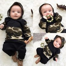 The new 2016 autumn baby boys and girls clothes cap camouflage pants suit cute newborn girl clothing