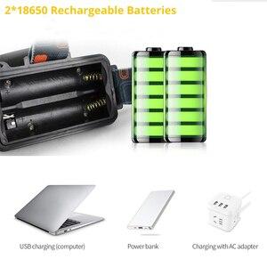 Image 4 - Led ヘッドランプ 5 * T6 のためヘッドライト 4 モードトーチヘッドランプ懐中電灯キャンプライト + 2*18650 バッテリー + ac/dc 充電器 + ボックス