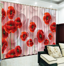 Custom 3D Curtain Red Flowers Are Beautifully Filled floral Curtains Beautiful Blackout