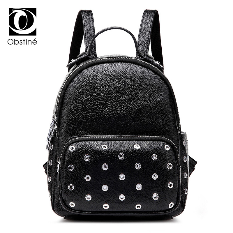 rivet backpack women fashion bag designer backpacks for girls large travel back pack female black cool rock womens rucksacks